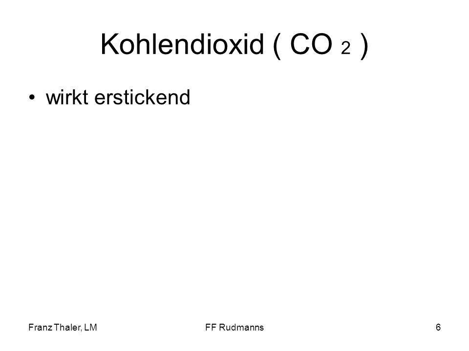 Kohlendioxid ( CO 2 ) wirkt erstickend Franz Thaler, LM FF Rudmanns