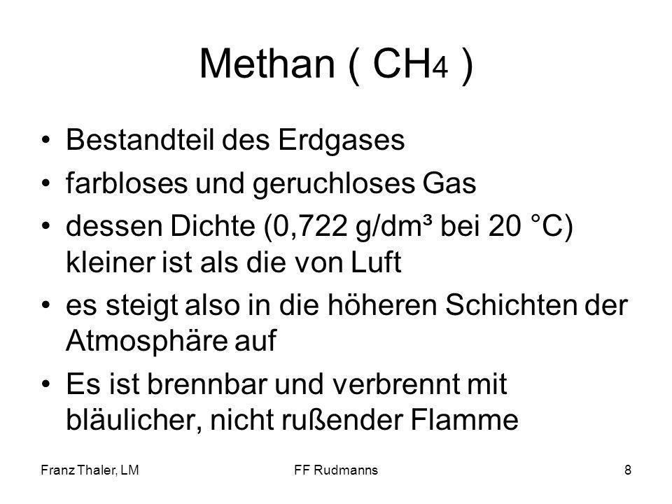 Methan ( CH4 ) Bestandteil des Erdgases farbloses und geruchloses Gas