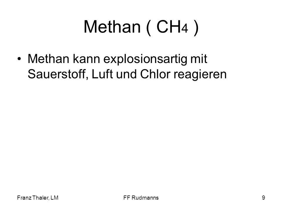 Methan ( CH4 ) Methan kann explosionsartig mit Sauerstoff, Luft und Chlor reagieren. Franz Thaler, LM.