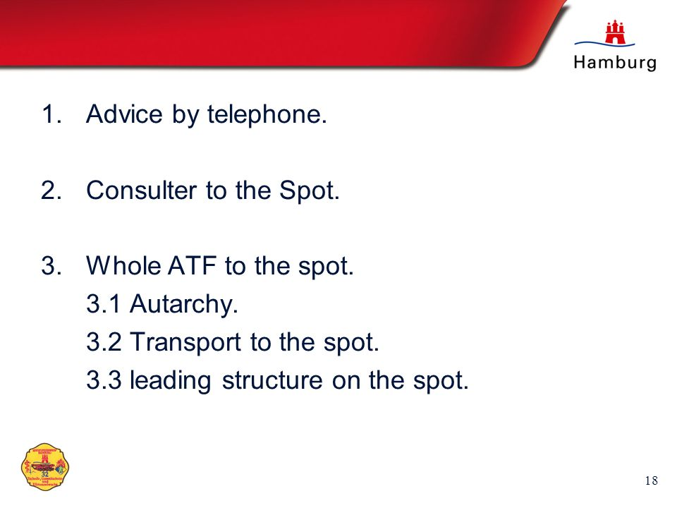 Advice by telephone. Consulter to the Spot. Whole ATF to the spot. 3.1 Autarchy. 3.2 Transport to the spot.