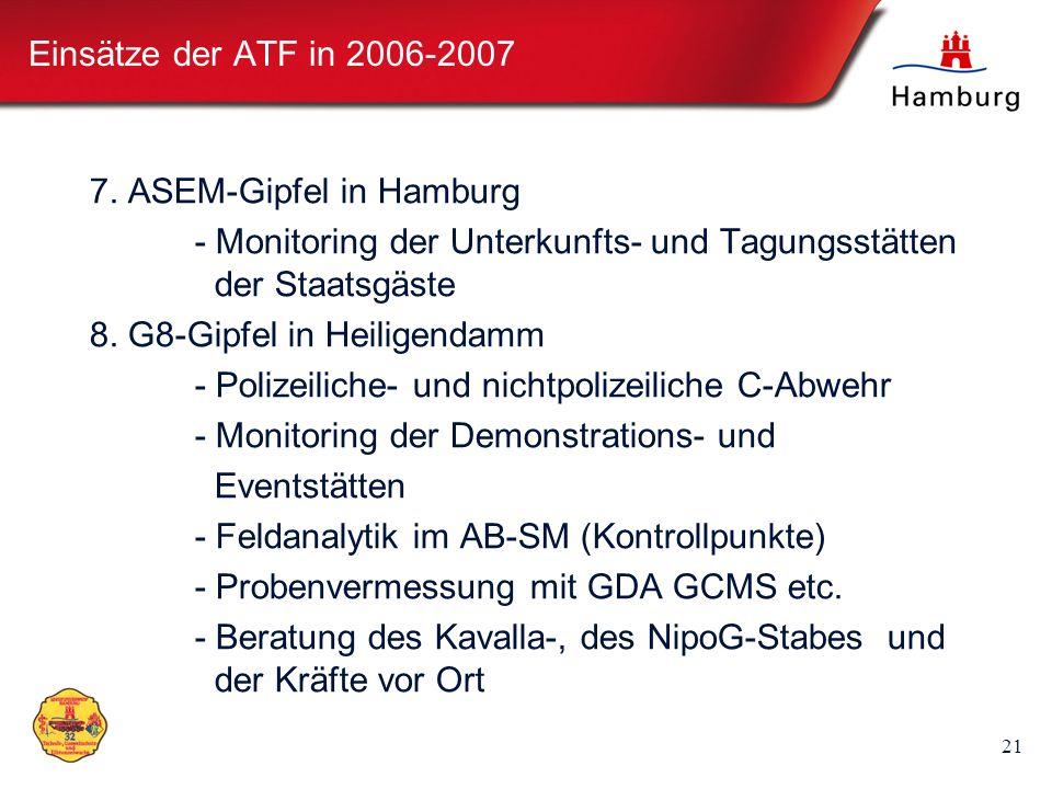 Einsätze der ATF in 2006-2007 7. ASEM-Gipfel in Hamburg. - Monitoring der Unterkunfts- und Tagungsstätten der Staatsgäste.