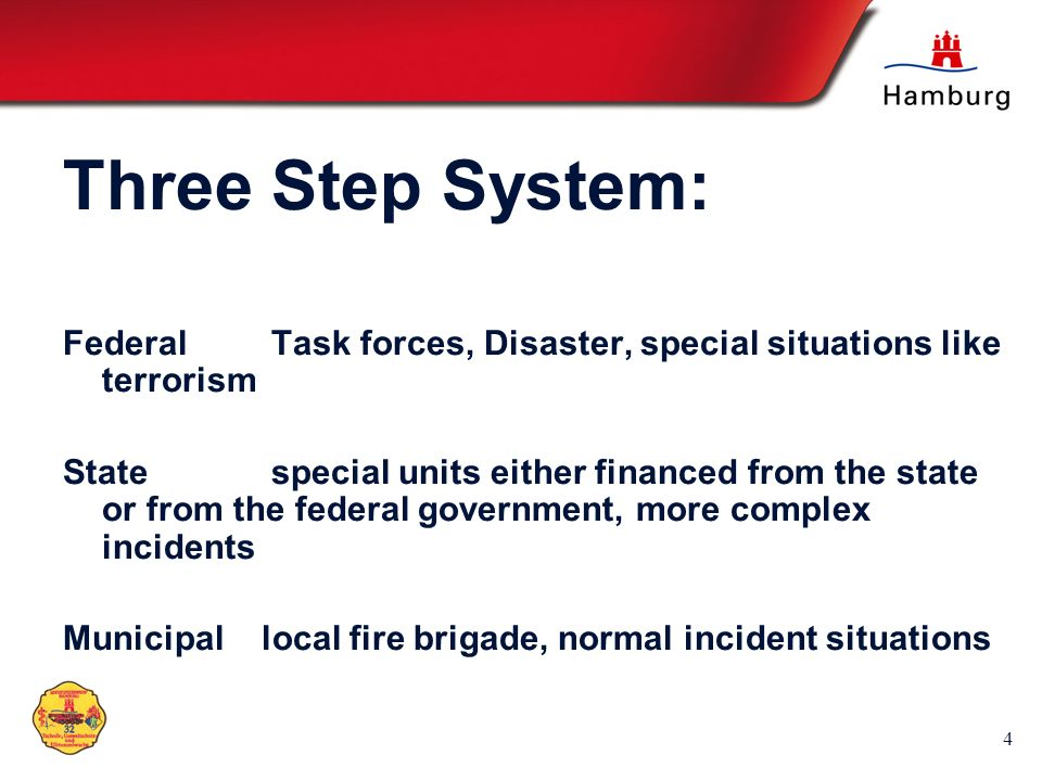 Three Step System:Federal Task forces, Disaster, special situations like terrorism.