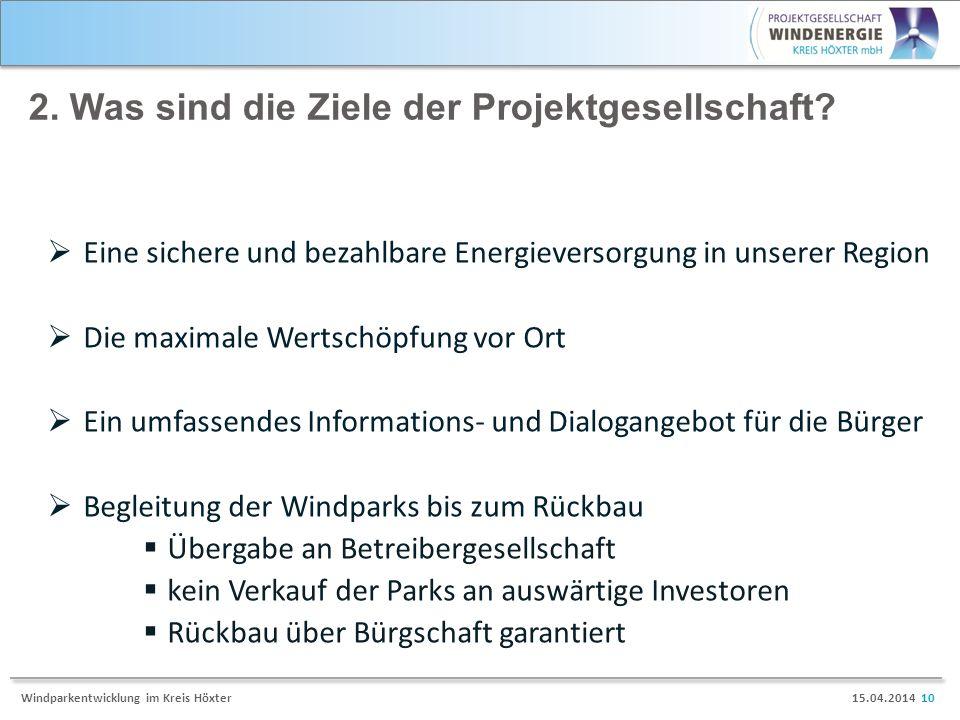 2. Was sind die Ziele der Projektgesellschaft