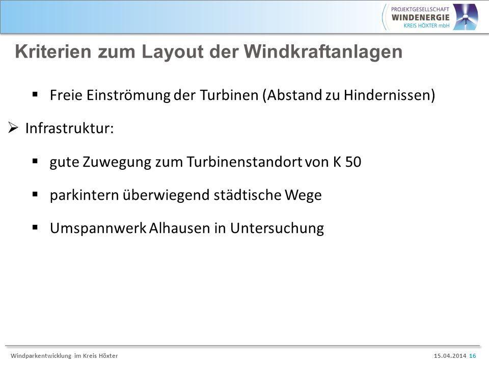 Kriterien zum Layout der Windkraftanlagen