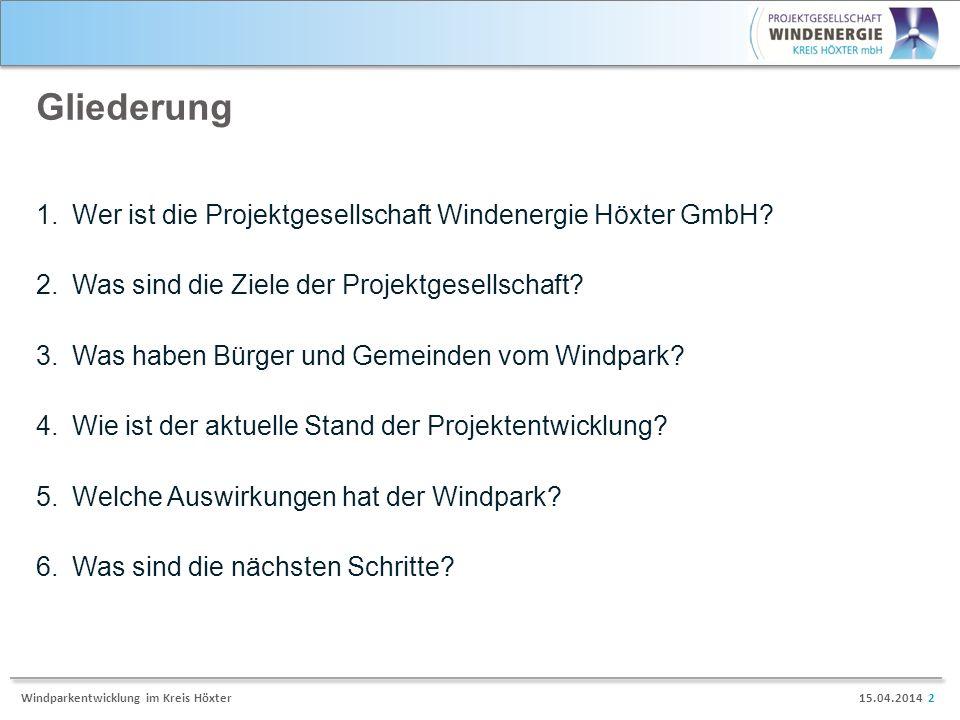 Gliederung Wer ist die Projektgesellschaft Windenergie Höxter GmbH