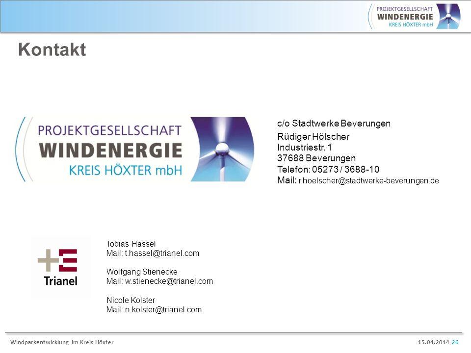 Kontakt c/o Stadtwerke Beverungen Rüdiger Hölscher Industriestr. 1
