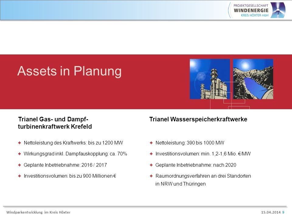 Assets in Planung Trianel Gas- und Dampf-turbinenkraftwerk Krefeld