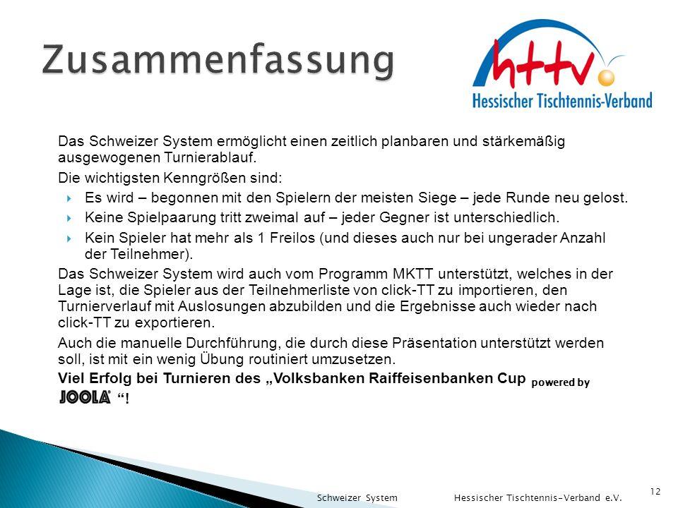 Zusammenfassung Das Schweizer System ermöglicht einen zeitlich planbaren und stärkemäßig ausgewogenen Turnierablauf.