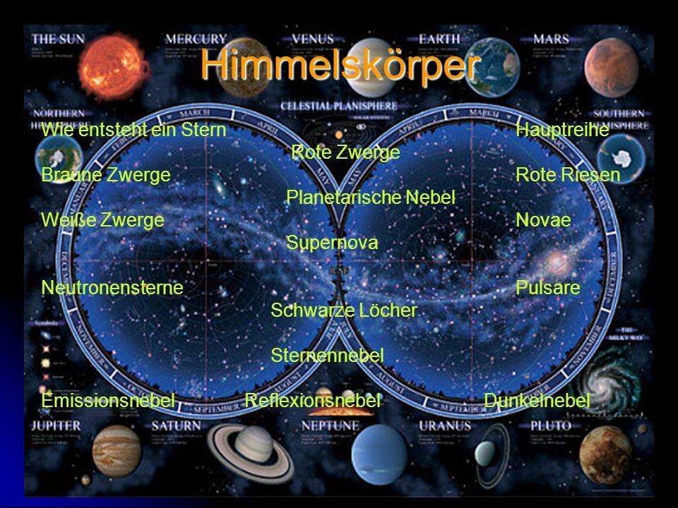 Himmelskörper Wie entsteht ein Stern Hauptreihe Rote Zwerge