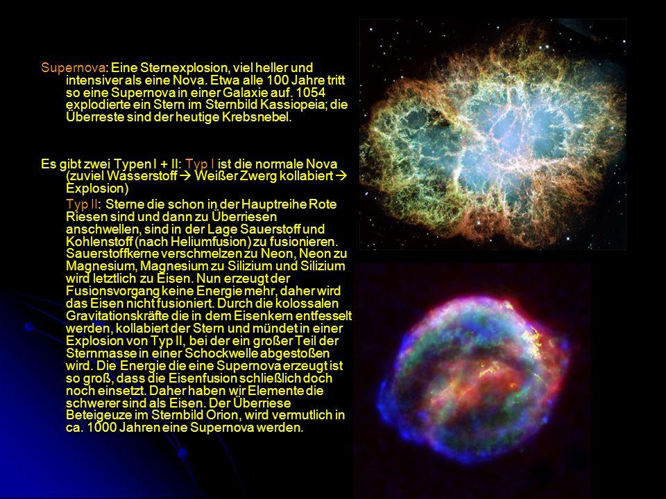 Supernova: Eine Sternexplosion, viel heller und intensiver als eine Nova. Etwa alle 100 Jahre tritt so eine Supernova in einer Galaxie auf. 1054 explodierte ein Stern im Sternbild Kassiopeia; die Überreste sind der heutige Krebsnebel.