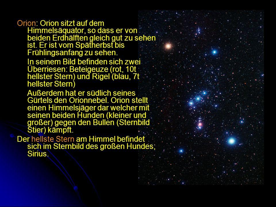 Orion: Orion sitzt auf dem Himmelsäquator, so dass er von beiden Erdhälften gleich gut zu sehen ist. Er ist vom Spätherbst bis Frühlingsanfang zu sehen.