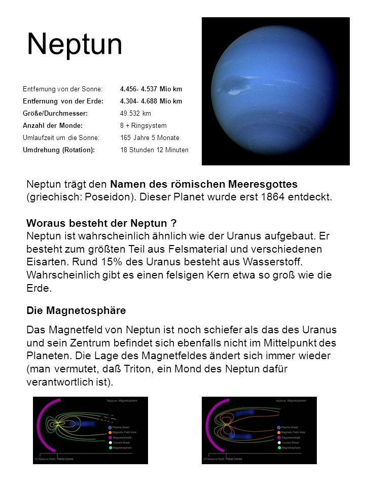 Neptun Entfernung von der Sonne: 4.456- 4.537 Mio km. Entfernung von der Erde: 4.304- 4.688 Mio km.