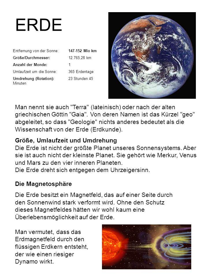 ERDE Entfernung von der Sonne: 147-152 Mio km. Größe/Durchmesser: 12.765,28 km. Anzahl der Monde: 1.