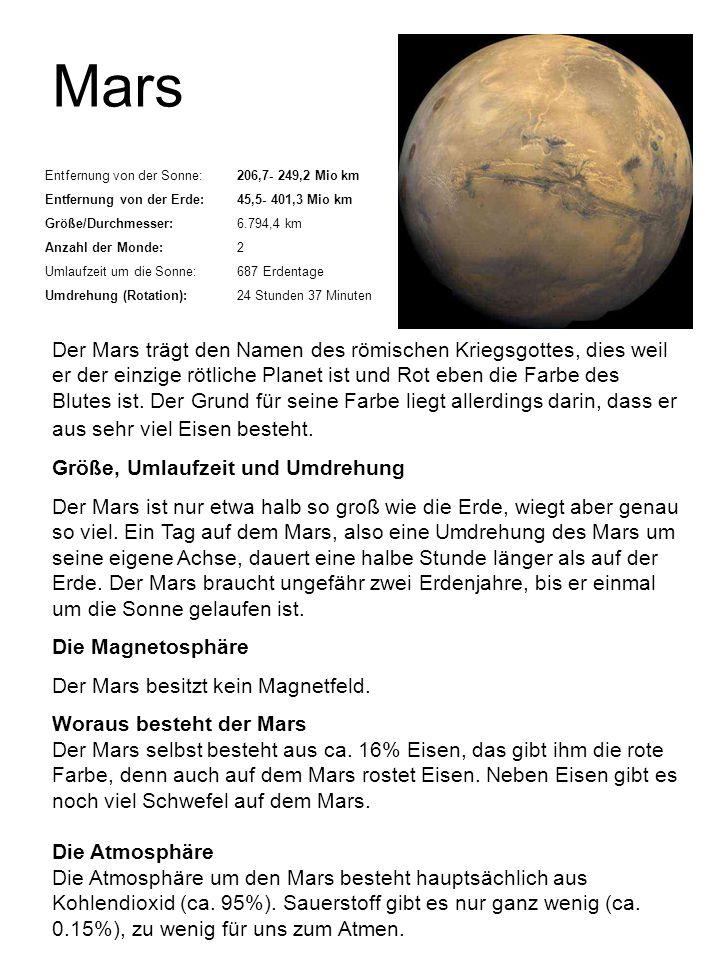 Mars Entfernung von der Sonne: 206,7- 249,2 Mio km. Entfernung von der Erde: 45,5- 401,3 Mio km. Größe/Durchmesser: 6.794,4 km.