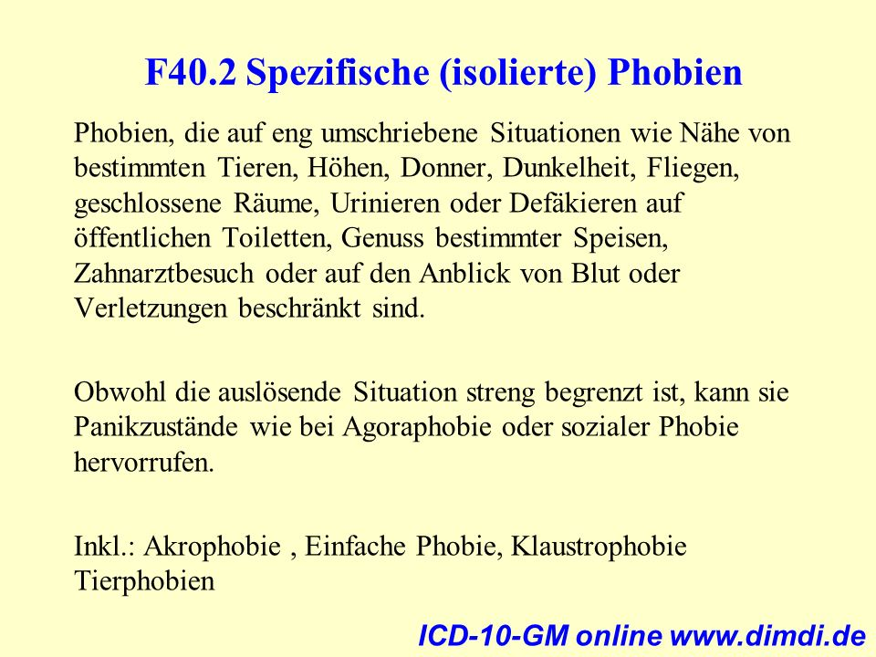 F40.2 Spezifische (isolierte) Phobien