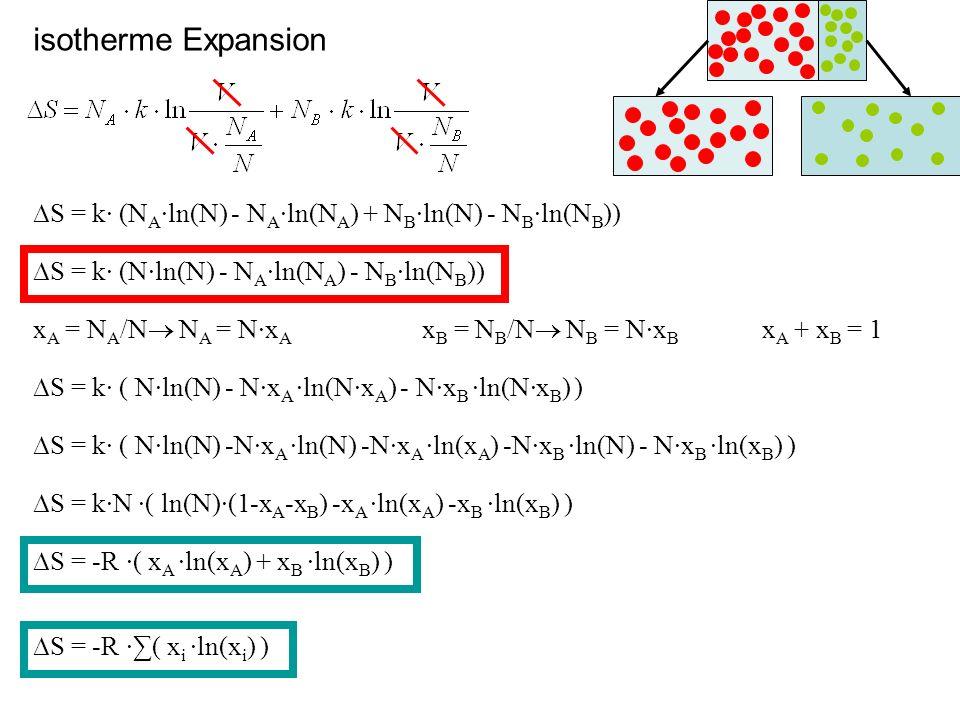 isotherme Expansion A. A. ∆S = k· (NA·ln(N) - NA·ln(NA) + NB·ln(N) - NB·ln(NB)) ∆S = k· (N·ln(N) - NA·ln(NA) - NB·ln(NB))