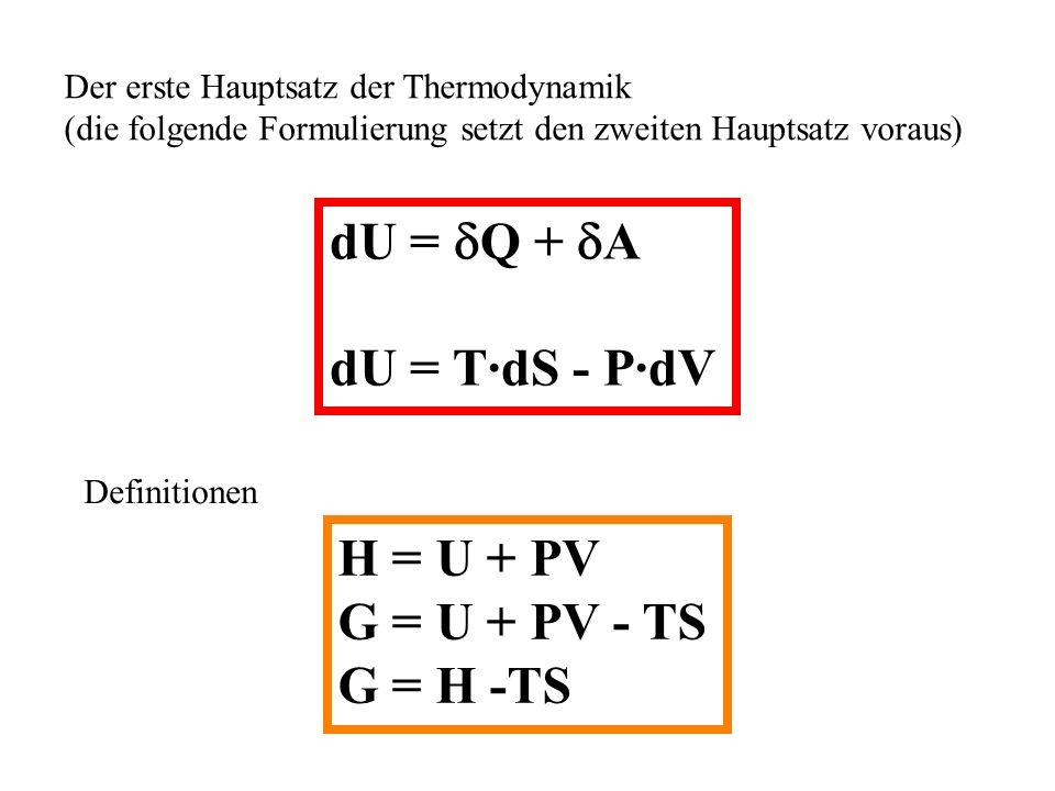dU = Q + A dU = T·dS - P·dV H = U + PV G = U + PV - TS G = H -TS