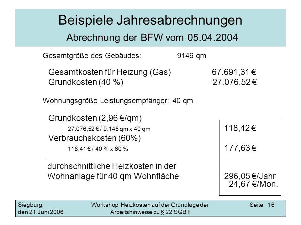 Beispiele Jahresabrechnungen Abrechnung der BFW vom 05.04.2004