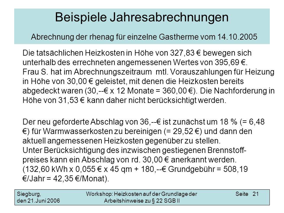Beispiele Jahresabrechnungen Abrechnung der rhenag für einzelne Gastherme vom 14.10.2005