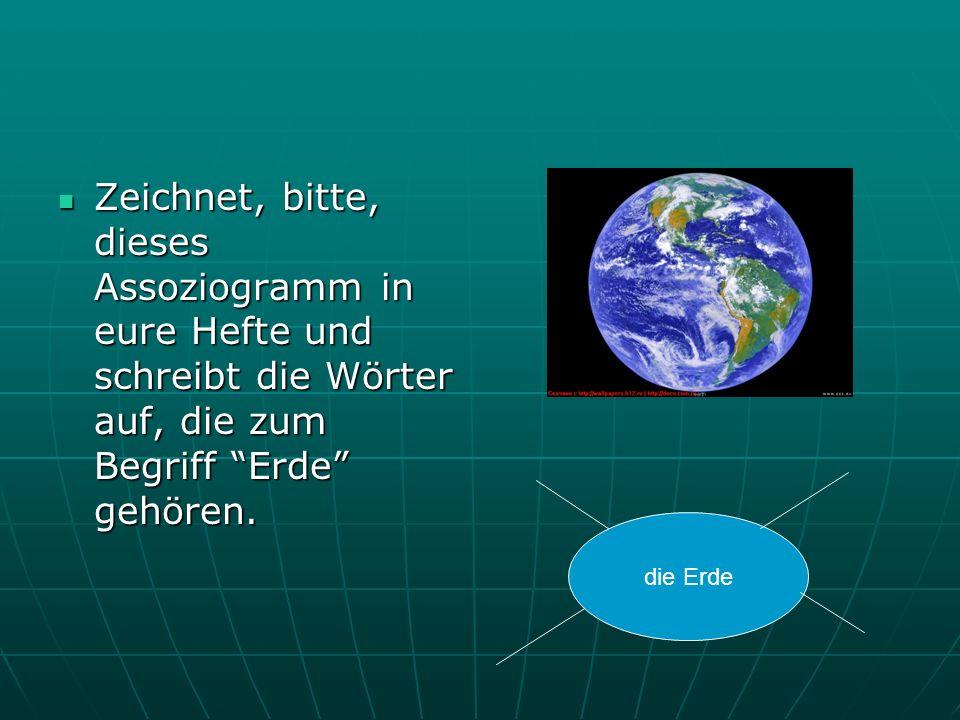 Zeichnet, bitte, dieses Assoziogramm in eure Hefte und schreibt die Wörter auf, die zum Begriff Erde gehören.