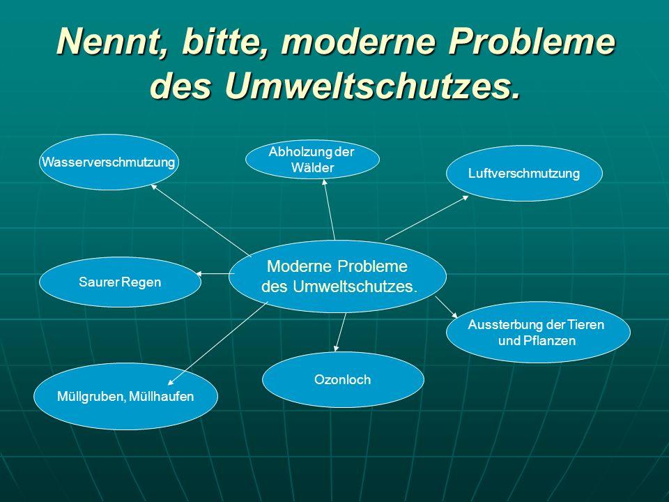 Nennt, bitte, moderne Probleme des Umweltschutzes.