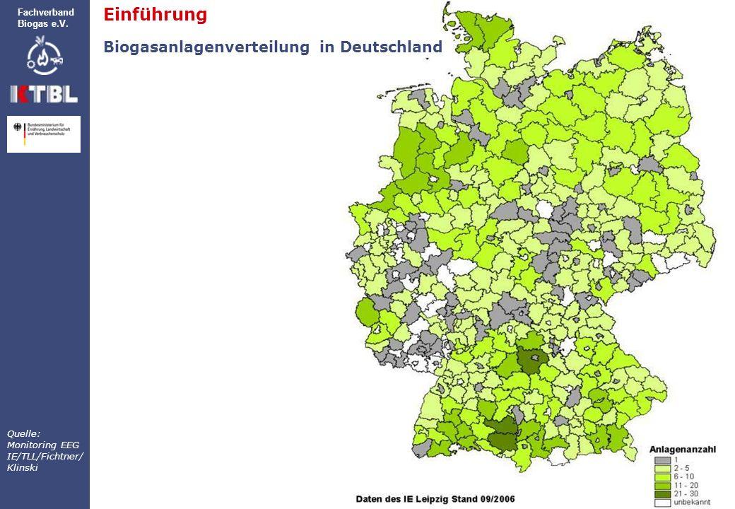 Einführung Biogasanlagenverteilung in Deutschland