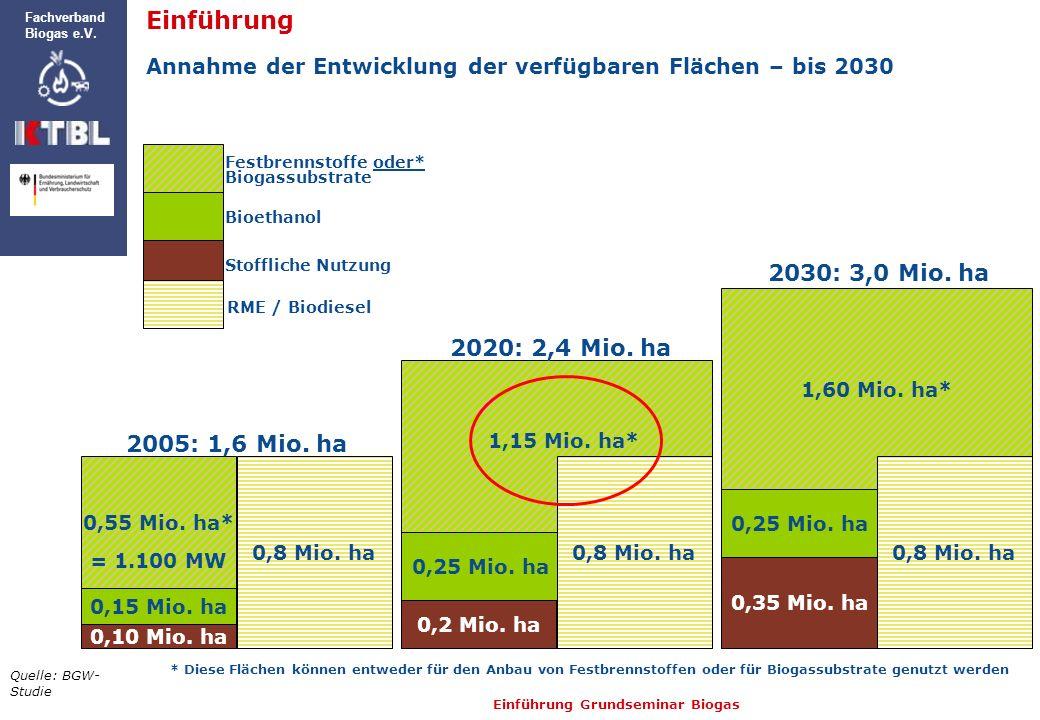 Einführung 2030: 3,0 Mio. ha 2020: 2,4 Mio. ha 2005: 1,6 Mio. ha