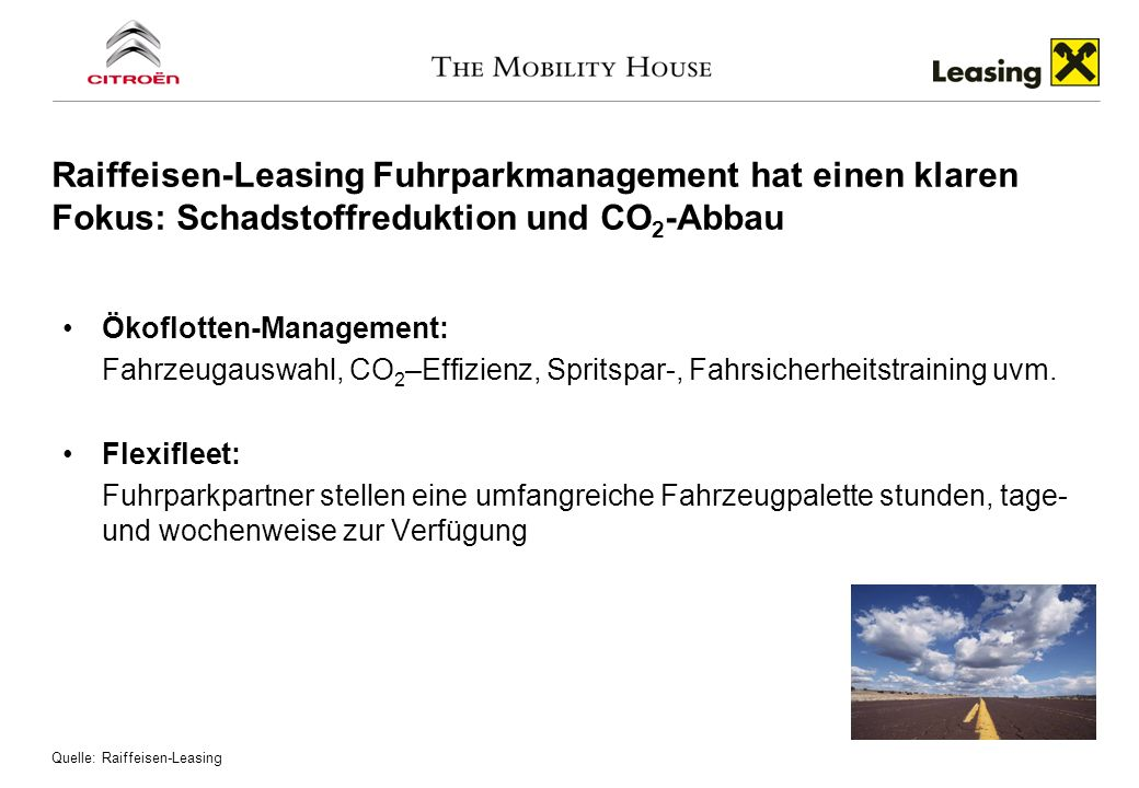 Raiffeisen-Leasing forciert Ökofahrzeuge und leistet damit einen Beitrag zur CO2-Einsparung