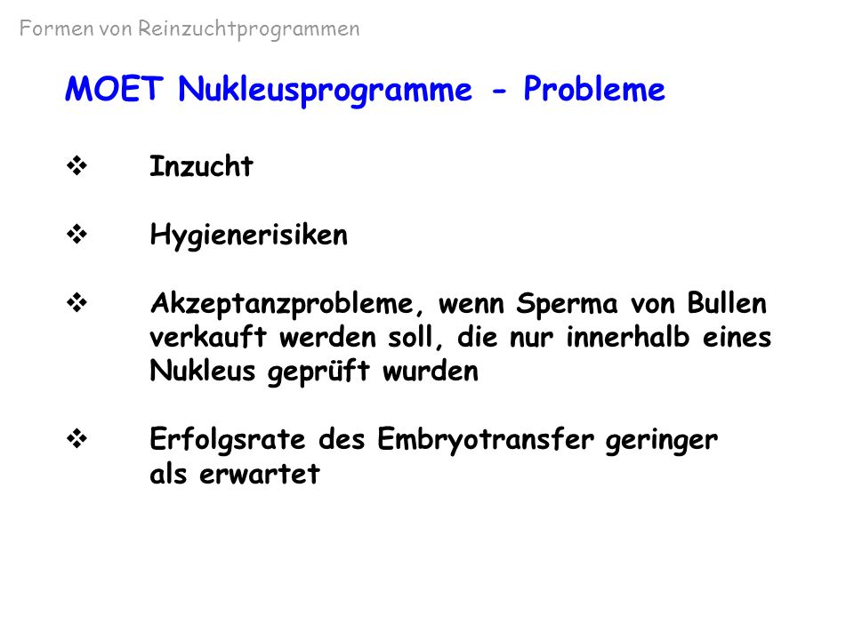 MOET Nukleusprogramme - Probleme