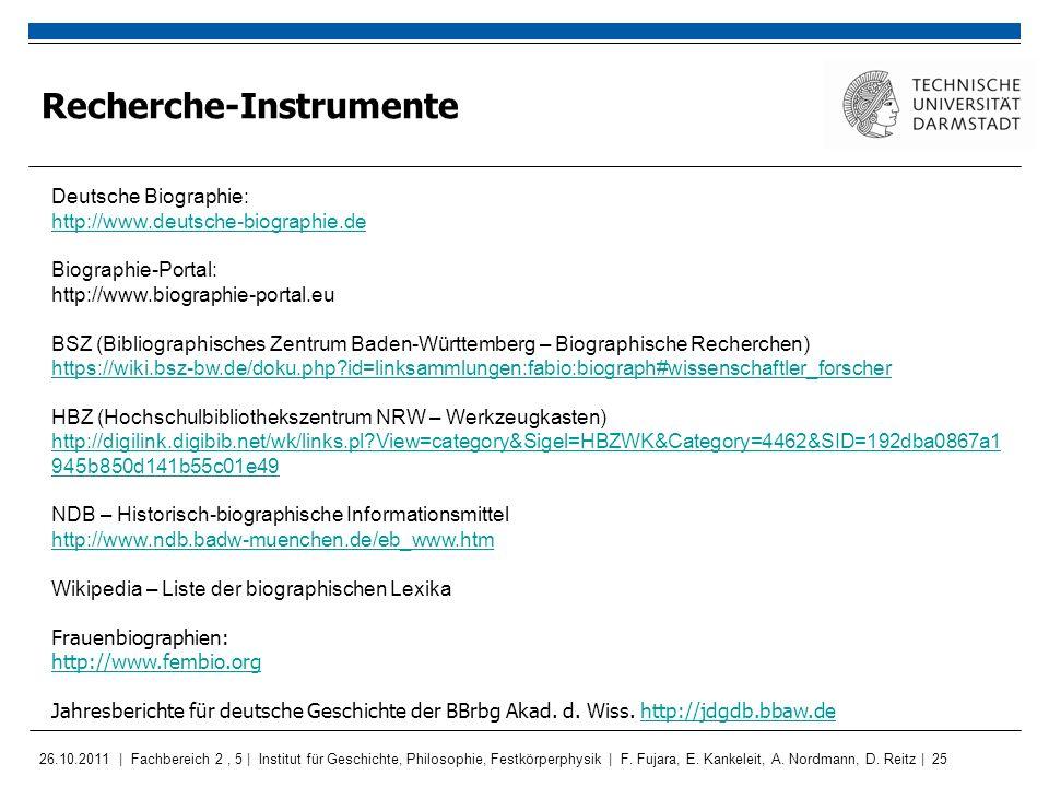 Recherche-Instrumente