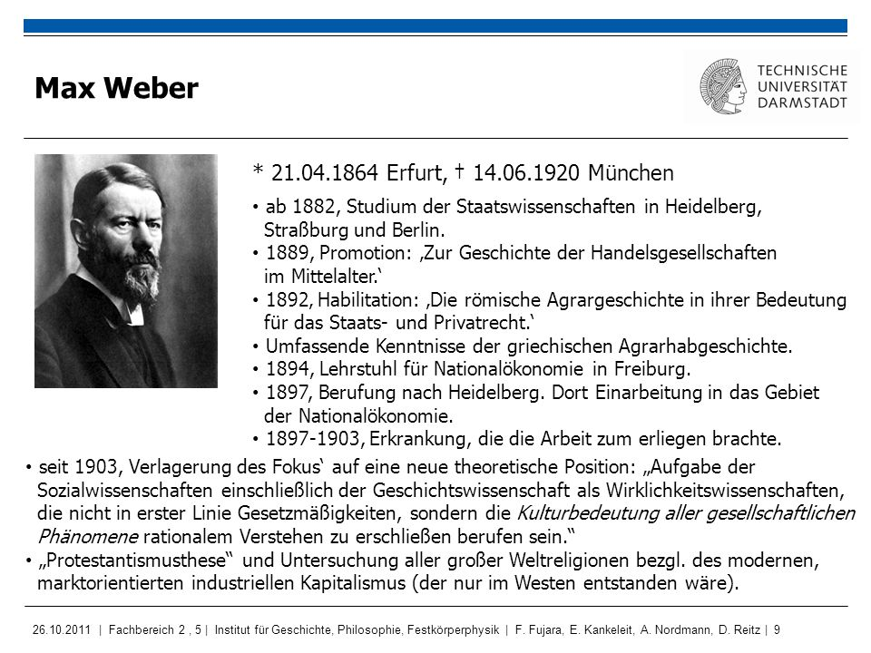 Max Weber * 21.04.1864 Erfurt, † 14.06.1920 München
