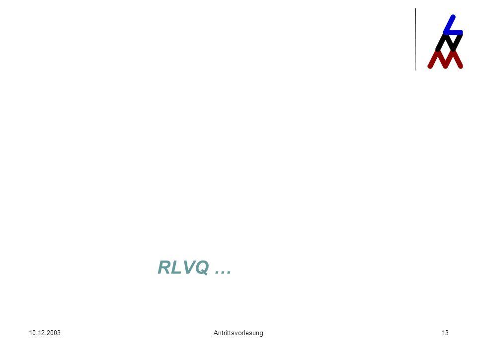 RLVQ … 10.12.2003 Antrittsvorlesung