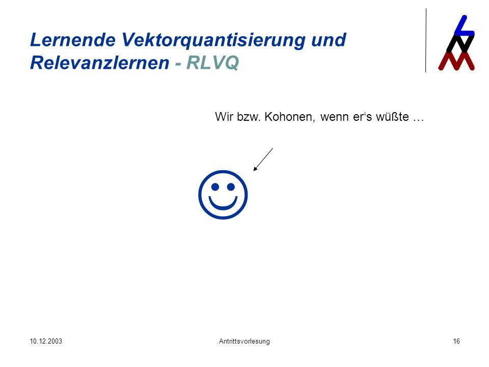 Lernende Vektorquantisierung und Relevanzlernen - RLVQ
