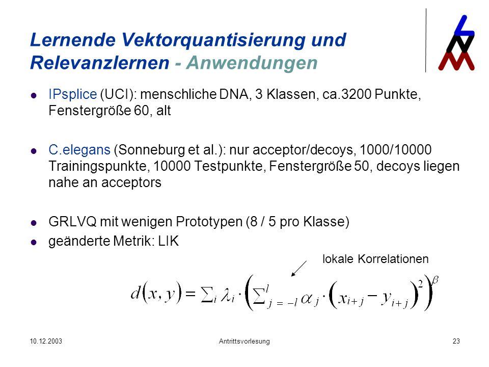 Lernende Vektorquantisierung und Relevanzlernen - Anwendungen