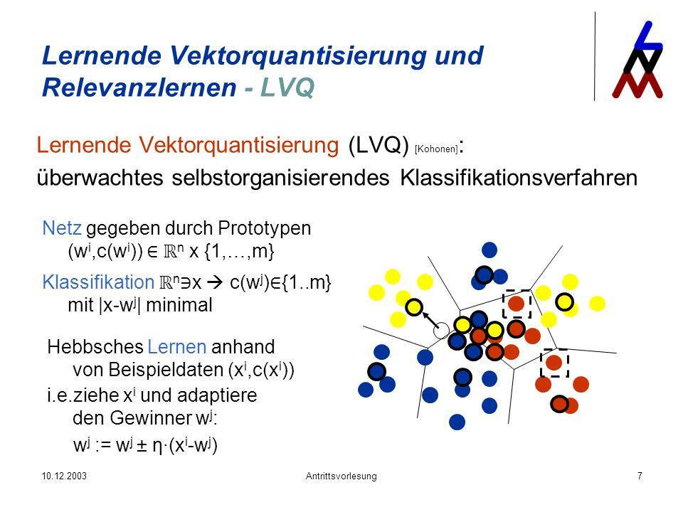 Lernende Vektorquantisierung und Relevanzlernen - LVQ