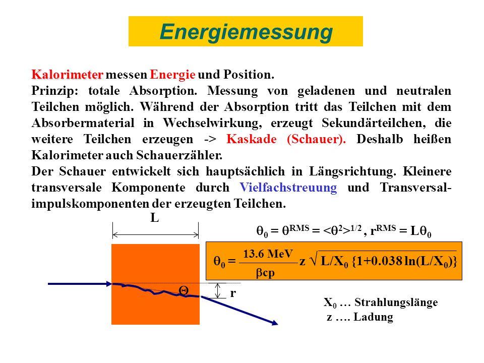Energiemessung Kalorimeter messen Energie und Position.
