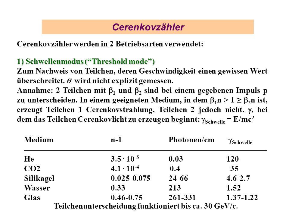 Cerenkovzähler Cerenkovzähler werden in 2 Betriebsarten verwendet: