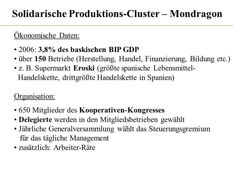 Solidarische Produktions-Cluster – Mondragon