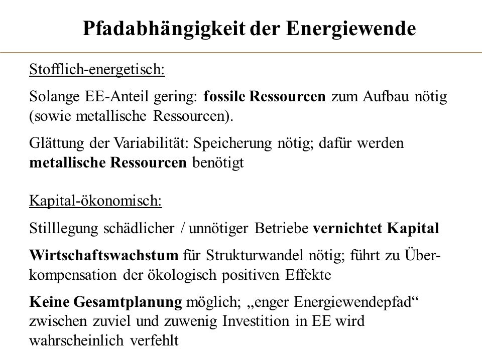 Pfadabhängigkeit der Energiewende