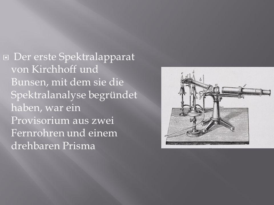 Der erste Spektralapparat von Kirchhoff und Bunsen, mit dem sie die Spektralanalyse begründet haben, war ein Provisorium aus zwei Fernrohren und einem drehbaren Prisma
