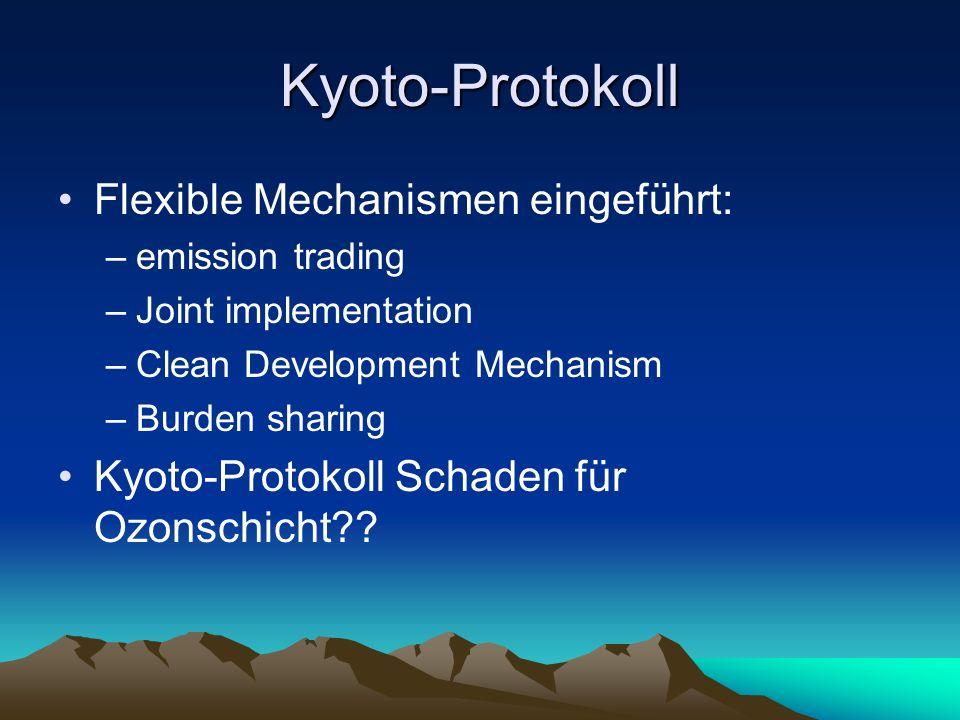 Kyoto-Protokoll Flexible Mechanismen eingeführt: