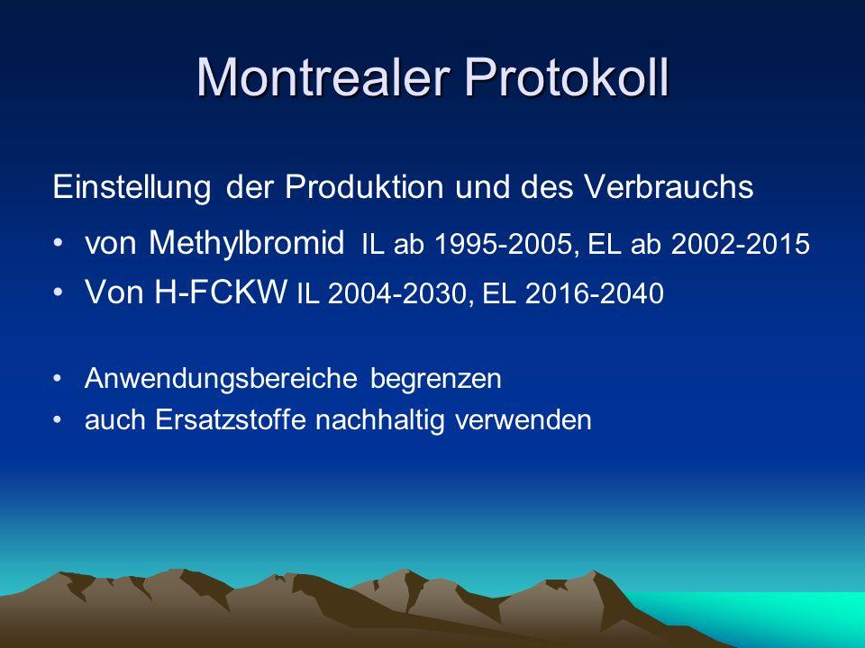Montrealer Protokoll Einstellung der Produktion und des Verbrauchs