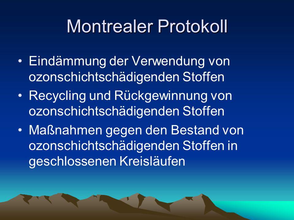 Montrealer Protokoll Eindämmung der Verwendung von ozonschichtschädigenden Stoffen. Recycling und Rückgewinnung von ozonschichtschädigenden Stoffen.