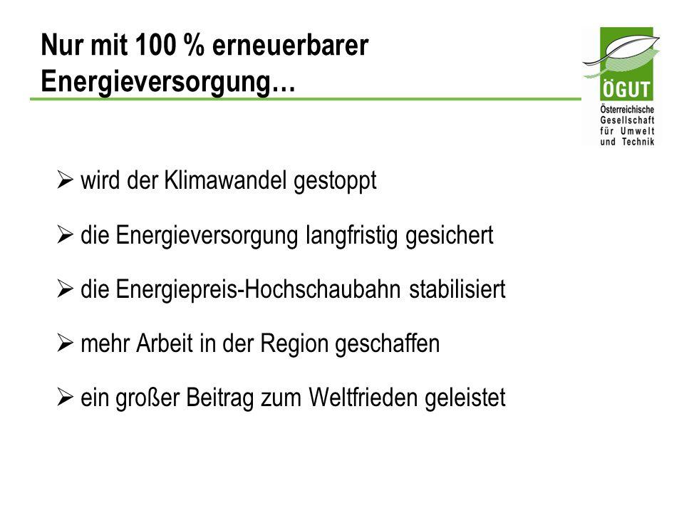 Nur mit 100 % erneuerbarer Energieversorgung…