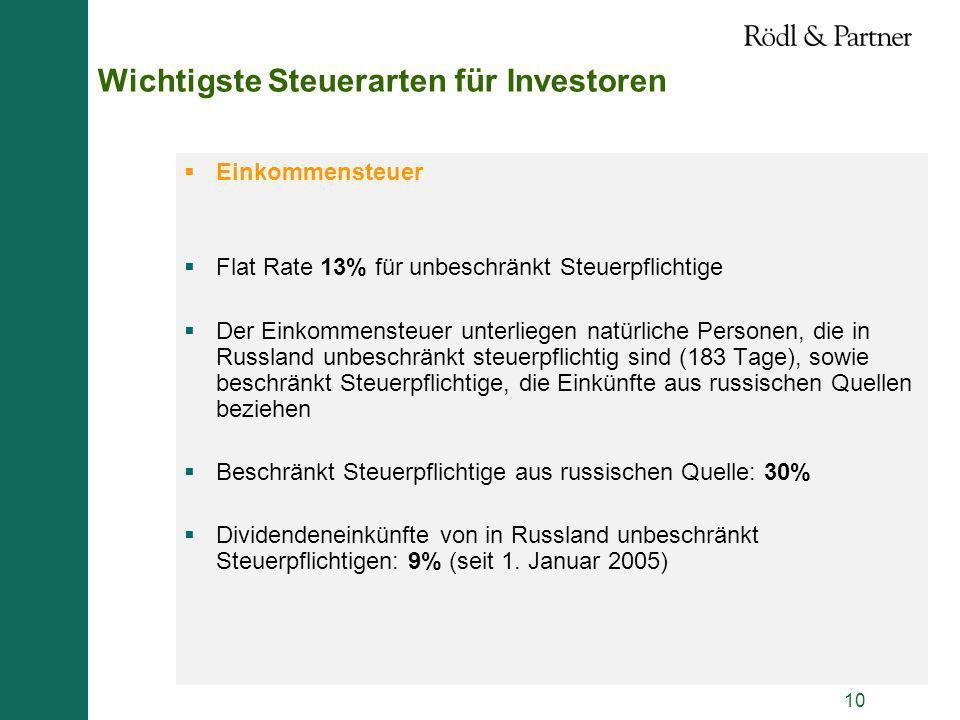 Wichtigste Steuerarten für Investoren