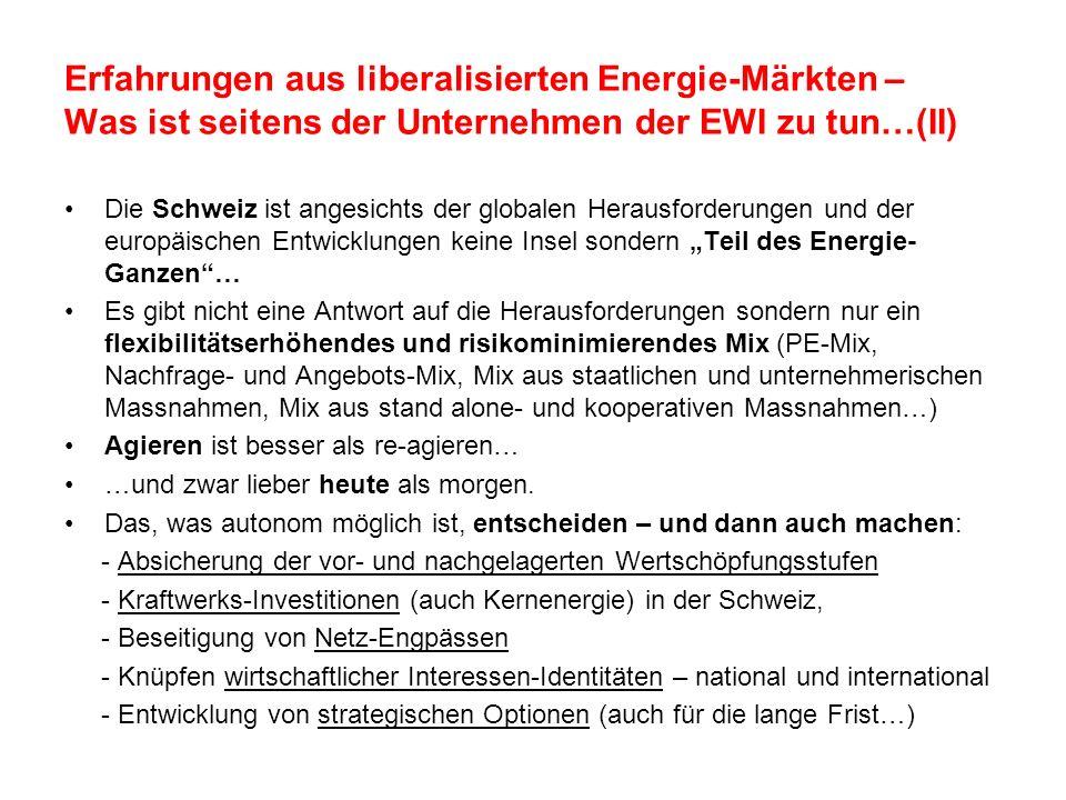Erfahrungen aus liberalisierten Energie-Märkten – Was ist seitens der Unternehmen der EWI zu tun…(II)