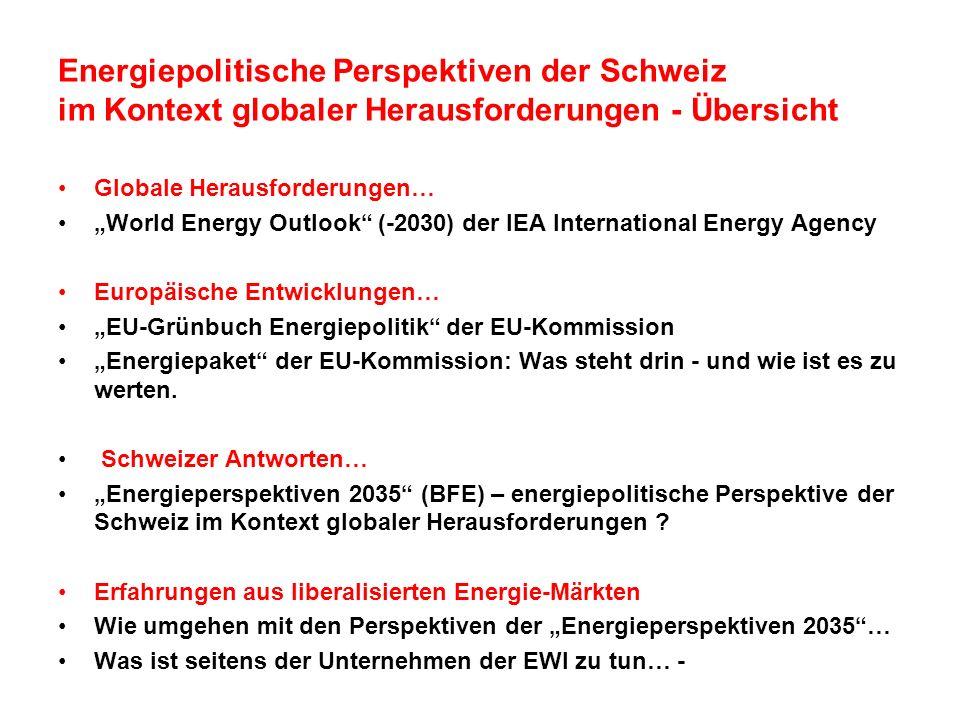 Energiepolitische Perspektiven der Schweiz im Kontext globaler Herausforderungen - Übersicht