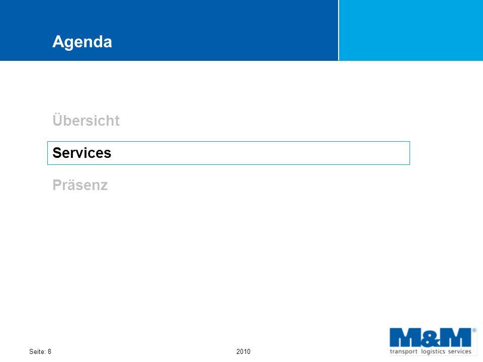 Agenda Übersicht Services Präsenz