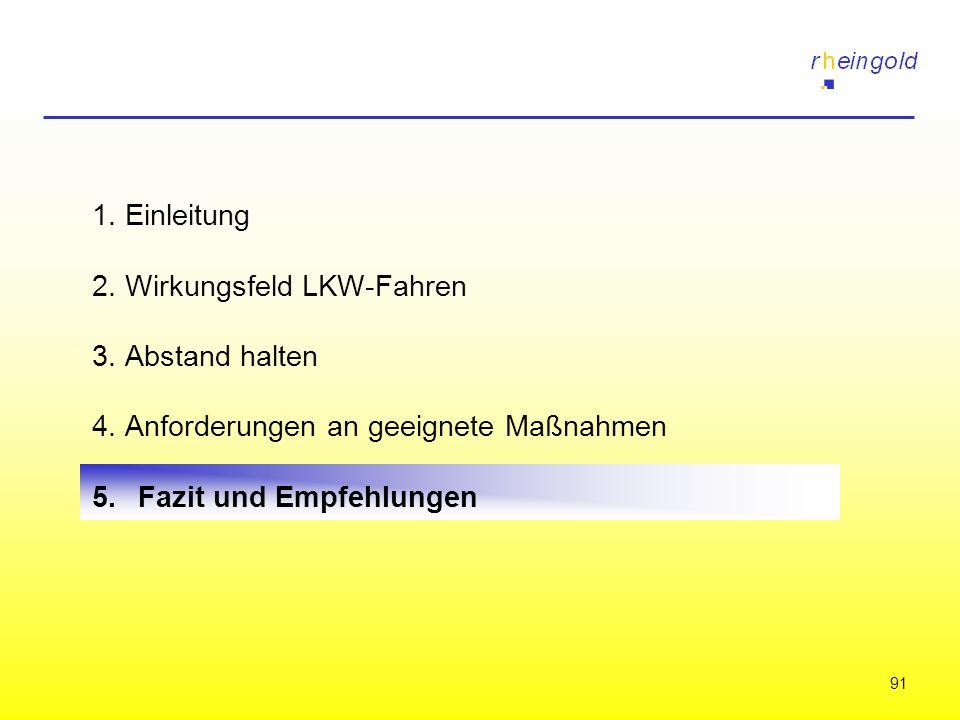 1. Einleitung 2. Wirkungsfeld LKW-Fahren. 3. Abstand halten. 4. Anforderungen an geeignete Maßnahmen.
