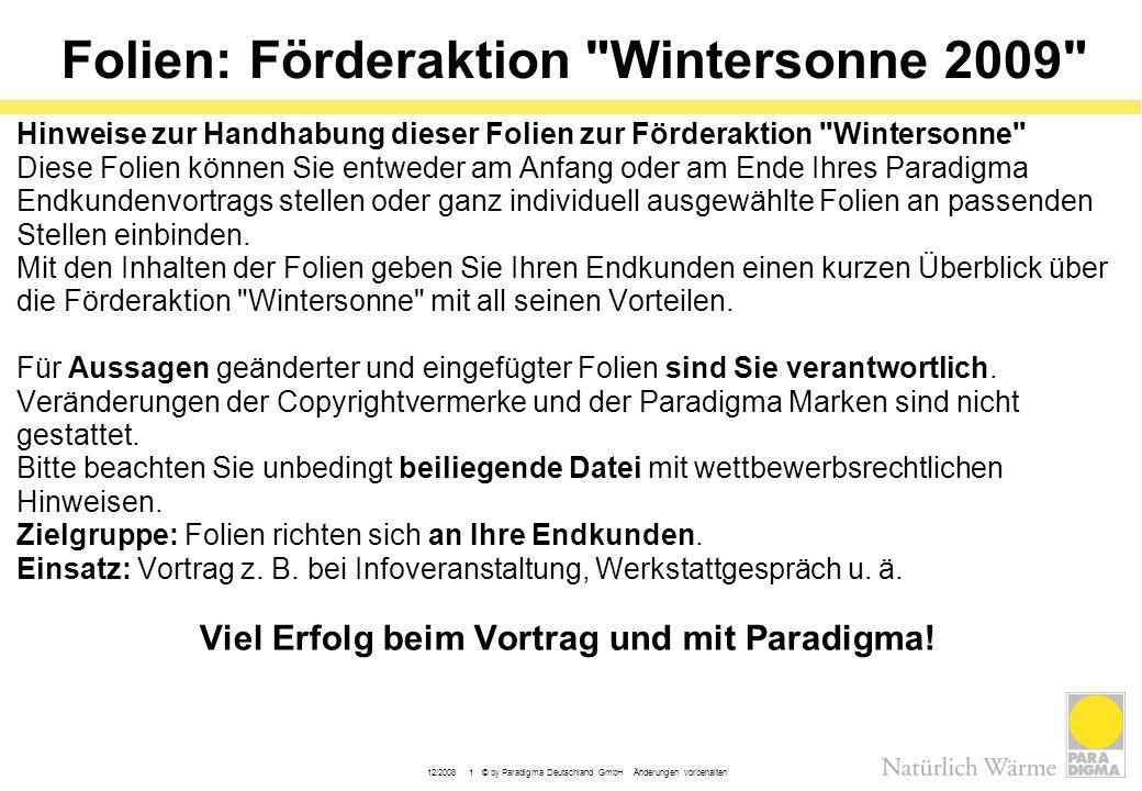 Folien: Förderaktion Wintersonne 2009